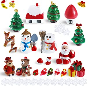50 Pieces Christmas Miniature Figures Ornaments Kit Mini Christmas Snowman Santa Claus Deer Snowflakes Ornaments Figurines Accessories for Snowy Winter Fairy Garden Dollhouse Decoration