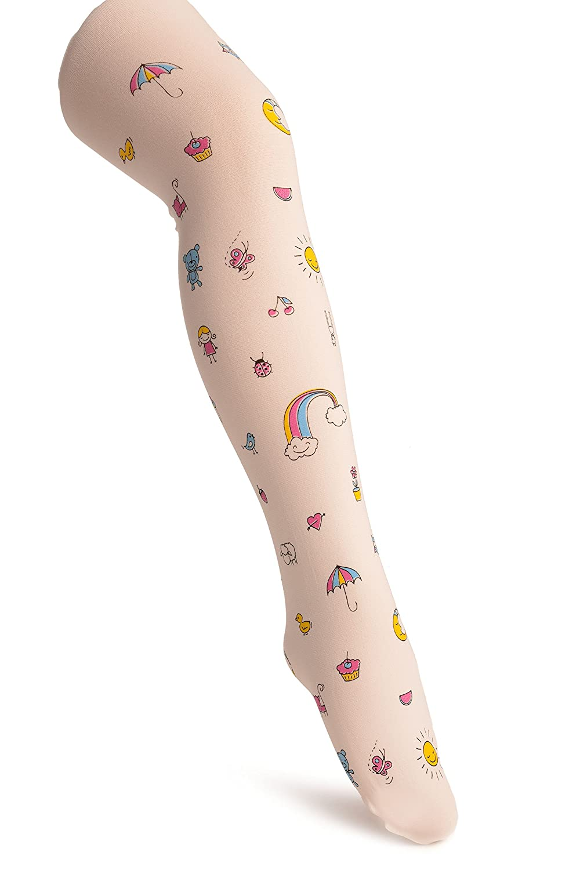 White With Printed Rainbow & Ice Cream - Girls Tights - Kids Tights (Pantyhose) eu