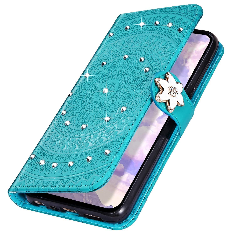 Surakey Cover Compatibile con Samsung Galaxy A70 Custodia Flip PU Pelle Modello Mandala Case Glitter Diamante con Supporto Porte Carte Anti-Scratch Portafoglio Custodia per Samsung Galaxy A70,Verde A