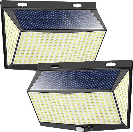 Solarlampen f/ür Au/ßen Bewegungsmelder Aussen 288 LEDs Solar-Solarleuchten 4 Pcs IP65 Wasserdichte LED Solarleuchten Au/ßen Solar wandleuchte Aussen mit 3 Optionalen Modi und 4 Weitwinkel
