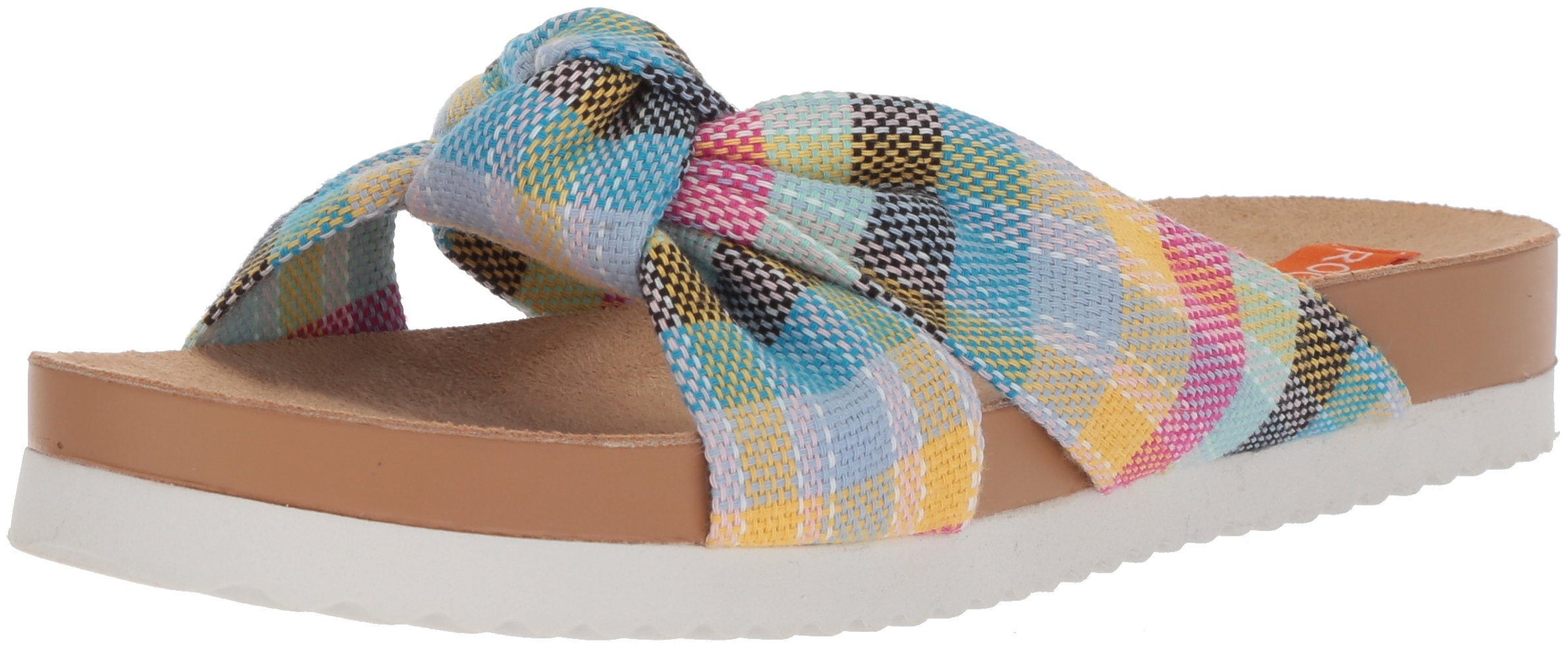 Rocket Dog Women's Loving Market Cotton Slide Sandal, Pink/Multi, 6.5 Medium US