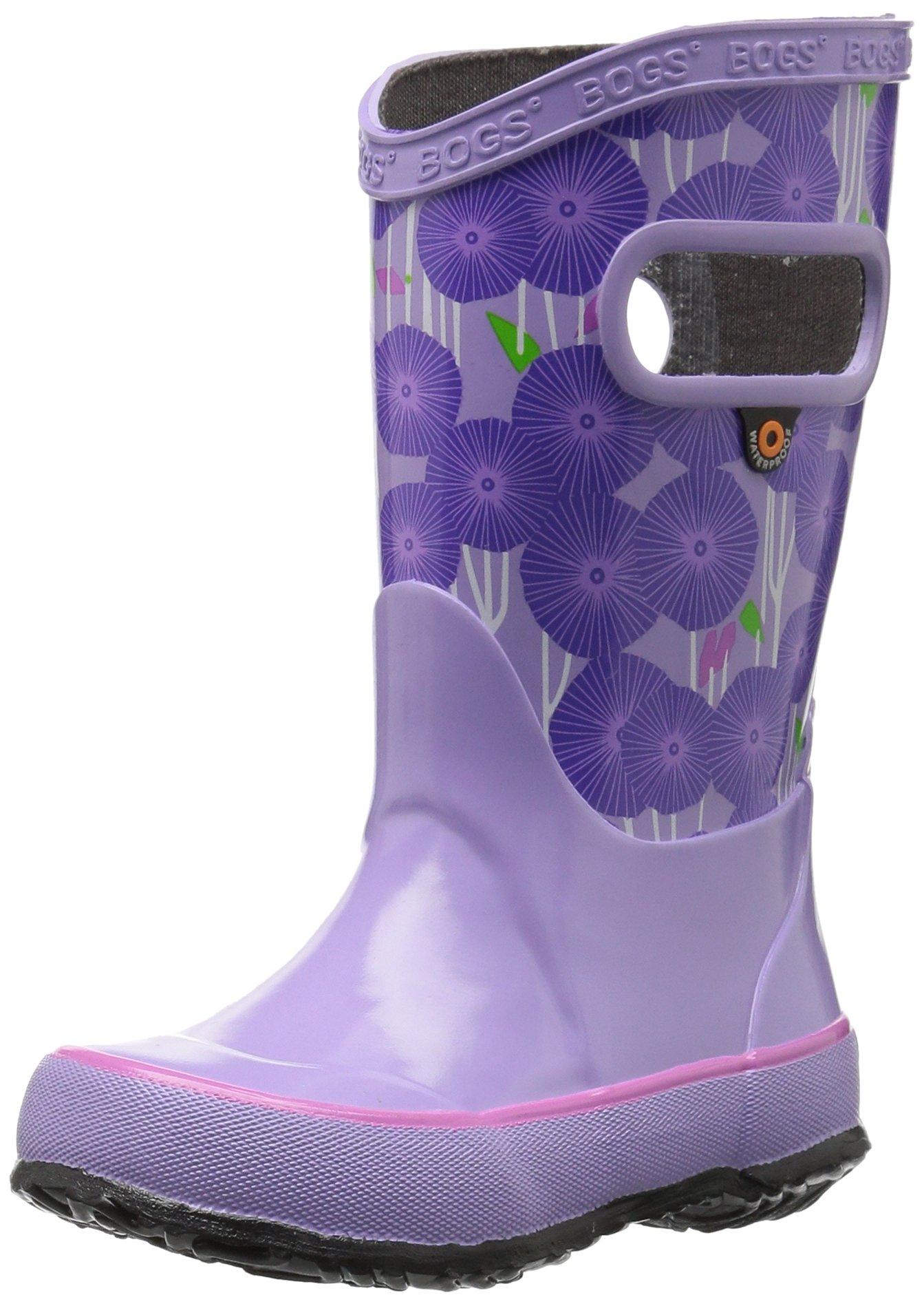 Bogs Kids Rubber Waterproof Rain Boot for Boys and Girls , Aster Print/Lavender/Multi, 4 M US Big Kid