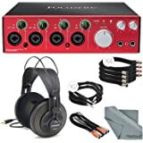 Focusrite Clarett 4Pre - Thunderbolt Audio Interface Bundle W/ 4x XLR Cable + 2 MIDI to 2 MIDI (Dual) Cable + 2x 1/4 Inch Cable + Samson Studio Headphones + FiberTique Cleaning cloth