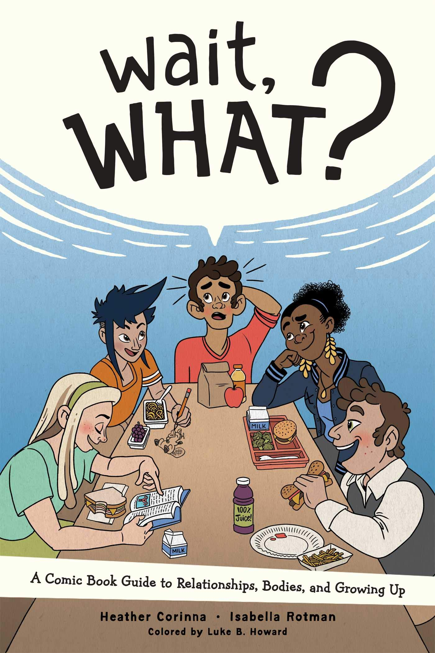 """Five multiracial preteens sitting at a lunch table. One is scratching their head, asking """"Wait, what?"""""""