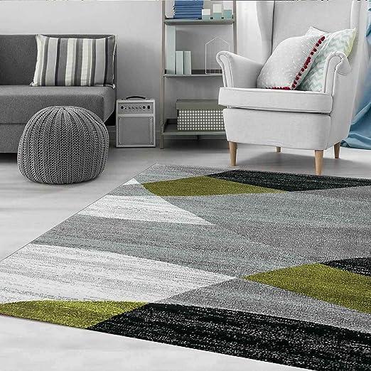VIMODA Moderne Salon Tapis Géométrique Motif Moucheté Marron Beige - Öko  Tex Certifié - Vert, 200x280 cm