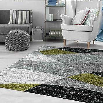 Wohnzimmer Teppich Modern Geometrisches Muster Gestreift Meliert in Grün  Weiss Schwarz Grau 60x100 cm