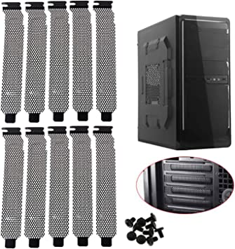10Pc Stainless Steel Desktop Computer PCI Dust Filter Case Slot Covers w// Screws