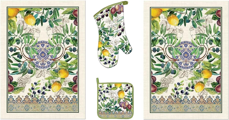 Michel Design Works Tuscan Grove 4 Piece Kitchen Set - 2 Towels, Oven Mitt, Potholder