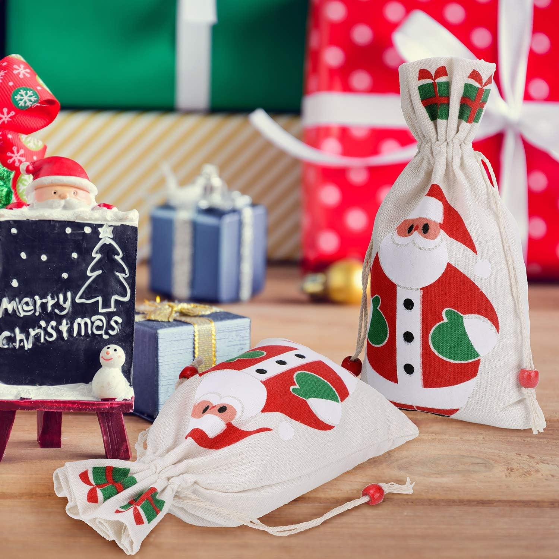 10X Printed Cotton /& Linen Candy Gift Bags Handmade Drawstring Wedding Xmas