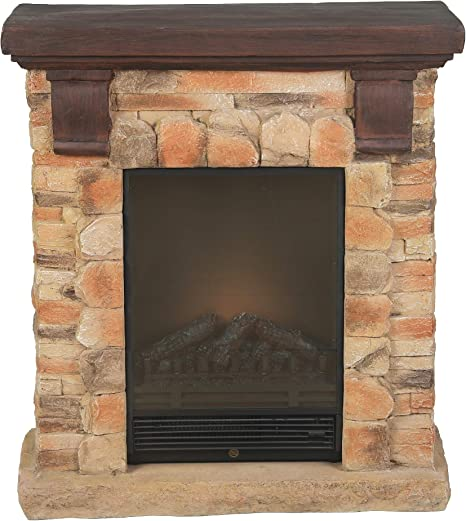 Winsome House Luxen Home Polystone Brick Free Standing Electric Fireplace Heater Mantel Home Kitchen