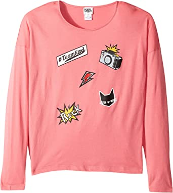 06788168b Amazon.com: Karl Lagerfeld Kids Girl's Long Sleeve Jersey Tee With  Embossed/Patch Graphic (Big Kids) Pink Sorbet T-Shirt: Clothing