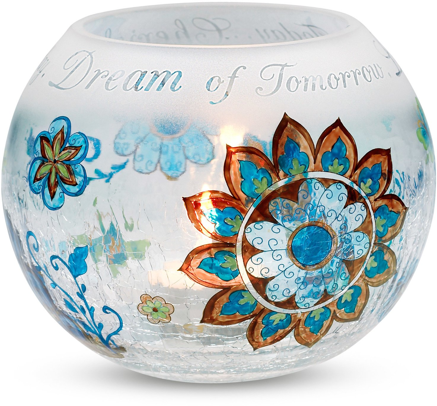 Perfectly Paisley Cherish Dream Live Crackled Glass Candle Holder, 5-Inch Round, Inspirational Saying