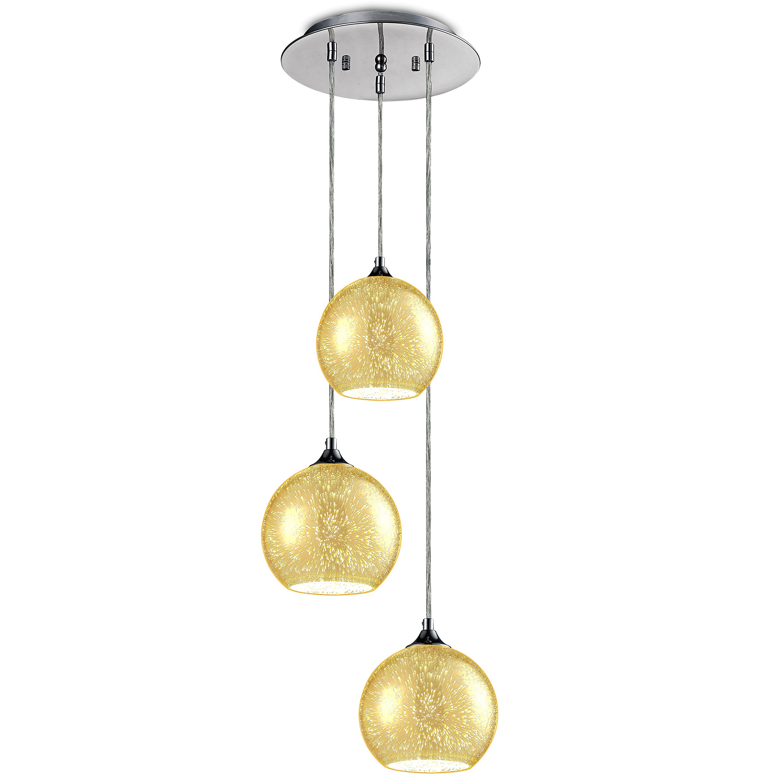 "SereneLife Home Lighting Fixture - Triple Pendant Hanging Lamp Ceiling Light with 3 7.1"" Circular Sphere Shaped Dome Globes, Sculpted Glass Accent, Adjustable Length and Screw-in Bulb Socket (SLLMP34)"