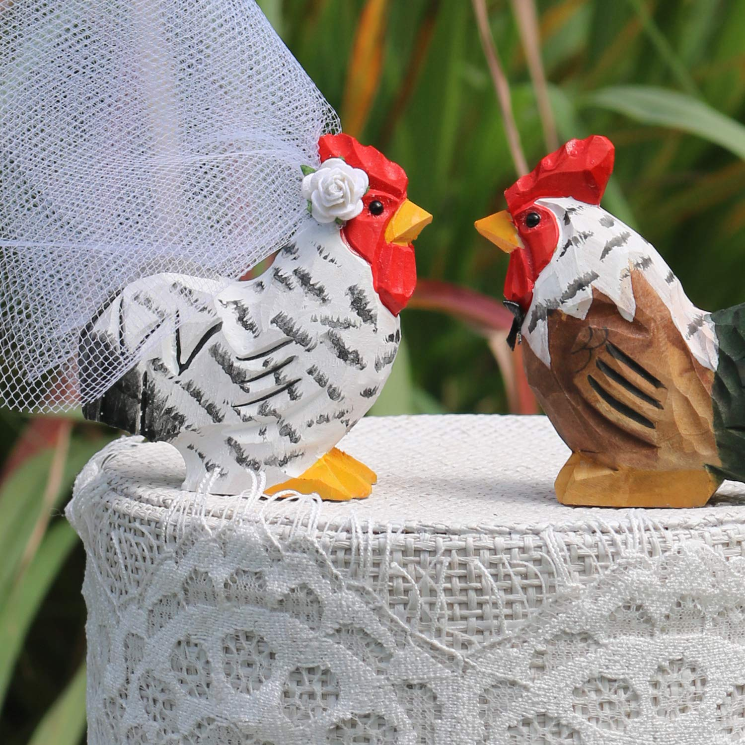 Chicken Wedding Cake Topper: Handcarved, Handpainted Wooden Hen & Rooster/Bride & Groom Love Bird Cake Topper for a White Wedding
