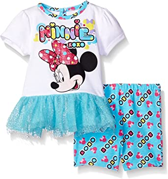 Disney Minnie Mouse Baby Girls/' 2-Piece Bike Shorts Set Outfit