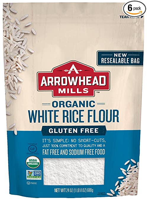 Arrowhead Mills Organic Gluten-Free White Rice Flour, 24 oz. Bag (Pack of 6)