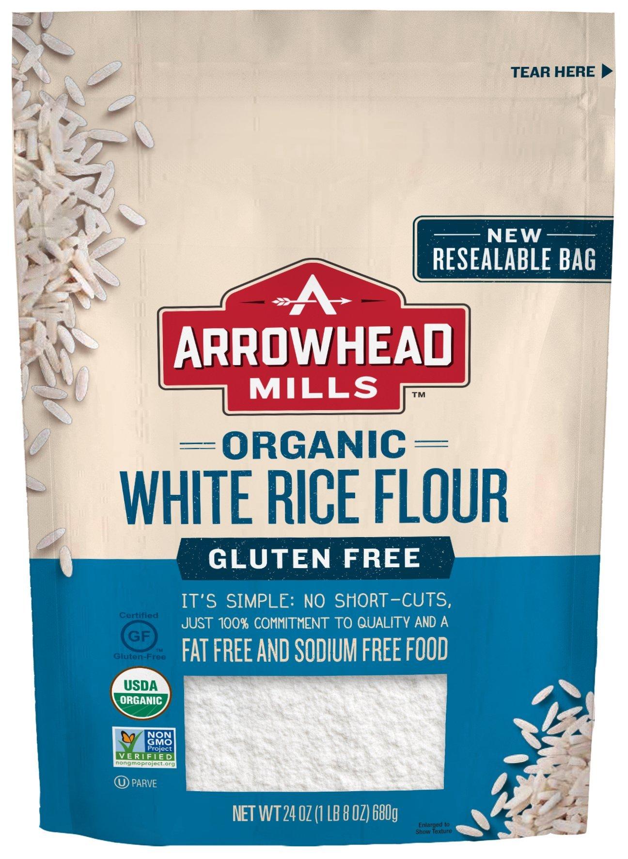 Arrowhead Mills Organic Gluten-Free White Rice Flour, 24 oz. Bag (Pack of 6)