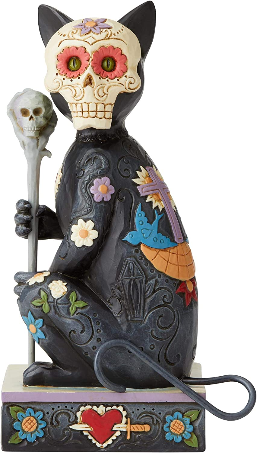 Enesco Jim Shore 6004327 Day of The Dead Cat Figurine, Resin,6.5Inches,Multicolor