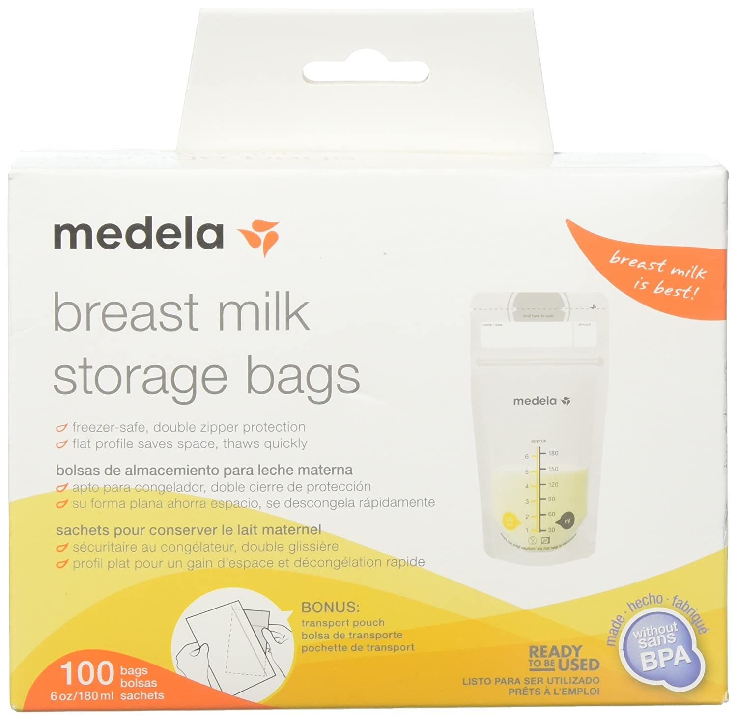 Medela Inc Breast Milk Storage Bags, White, 100 Count 68062