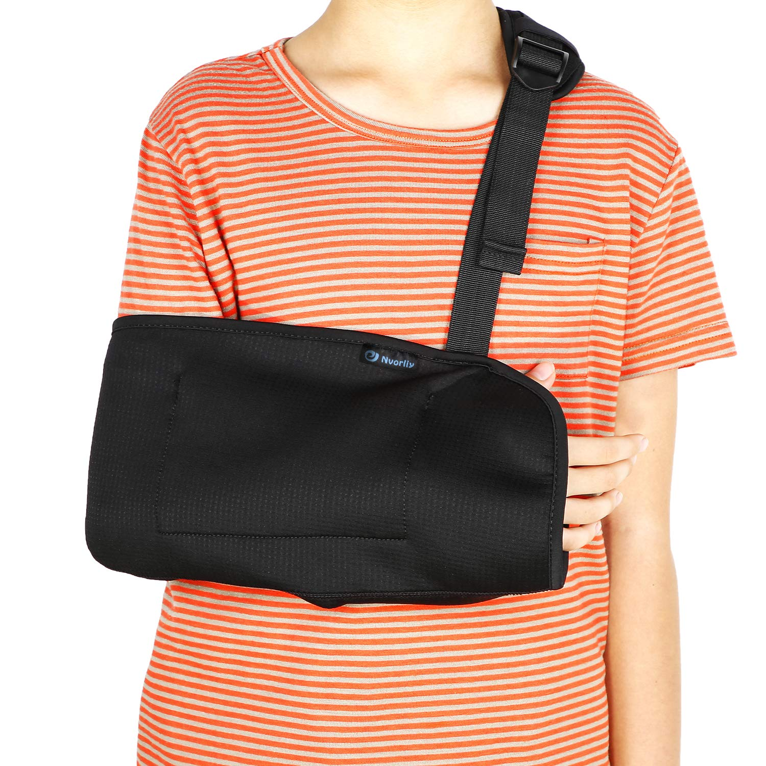 Child Arm Sling, Pediatric & Toddlers Adjustable Shoulder Support Strap for Broken, Fractured Wrist, Rotator Cuff Full Soft Immobilizer Fits Kids, Youth, Teens, Left or Right Arm by Nvorliy
