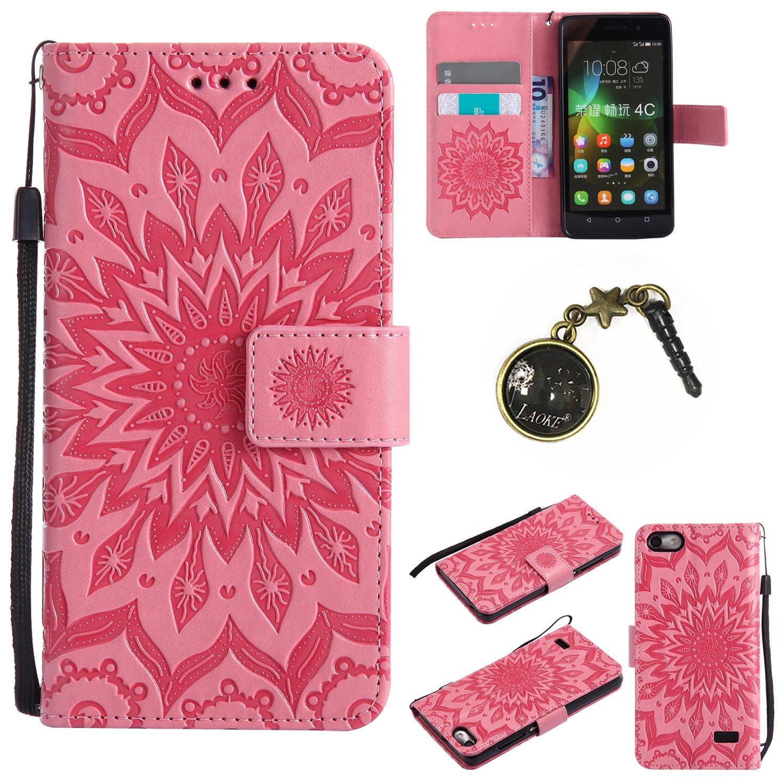 Case pour Huawei Honor 4C / G Play Mini Coque,Fleur de en PU Cuir Phone Case Cover Couverture Fonction Support avec Fermeture Aimantée de Feuille Motif Imprimé+Bouchons de poussière (7FF)