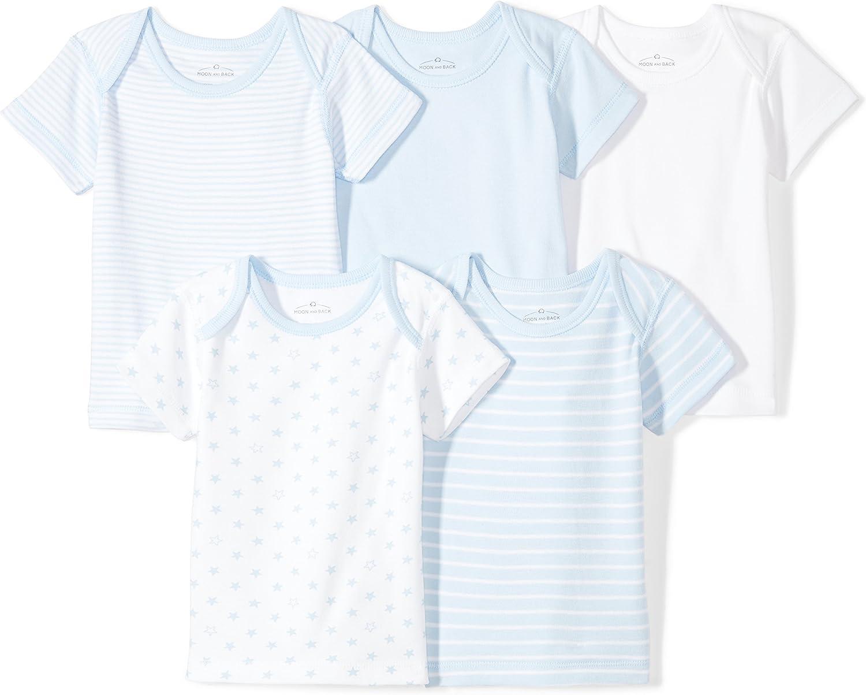 Moon and Back Baby Set of 5 Organic Crewneck Short-Sleeve Shirts: Clothing