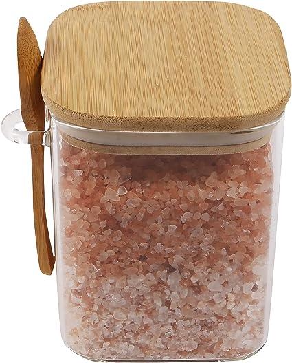 spezie ORNAMI Vetro bamb/ù per zucchero pepe contenitore ermetico per cucina Barattolo per alimenti in vetro con coperchio in bamb/ù naturale e cucchiaio semi 0,5 l sale