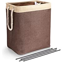 DYD Laundry Basket with Handles Linen Hampers for Laundry Storage Baskets Built-in Lining with Detachable Brackets Well-Holding Upgrade Foldable Laundry Hamper for Toys Clothing Organization