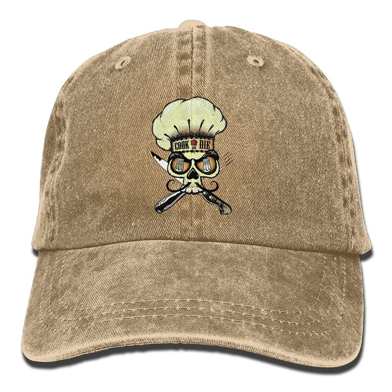 JTRVW Mens Womens Skull Chef Mustache Cotton Adjustable Peaked Baseball Dyed Cap Adult Custom Casual Baseball Cowboy Hats