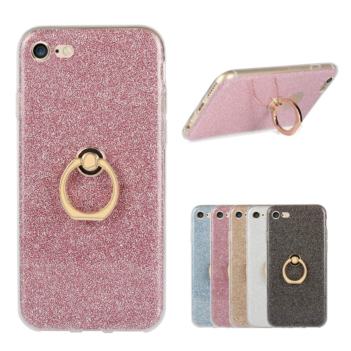 Misstars Peluche Pom Pom Custodia per iPhone 7/ iPhone 8, 2 in 1 Trasparente Morbido TPU + Bling Glitter Paper Oro Design Antiurto Protettiva Cover con Supporto Anello per Apple iPhone 7/8 (4,7') 7)