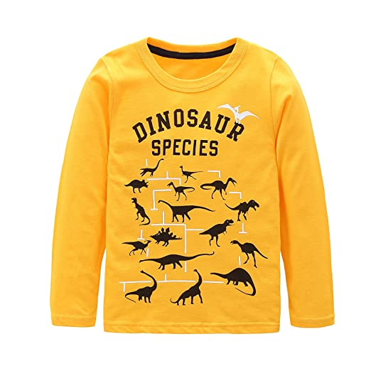 7c1144ff5c Toddler Boys Cotton Long Sleeve T-Shirts T Rex Dinosaur Shirt Graphic Tees  Yellow 3T