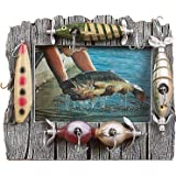 """Rivers Edge Fishing Lure Picture Frame - Holds 4"""" X 6"""" Photo"""