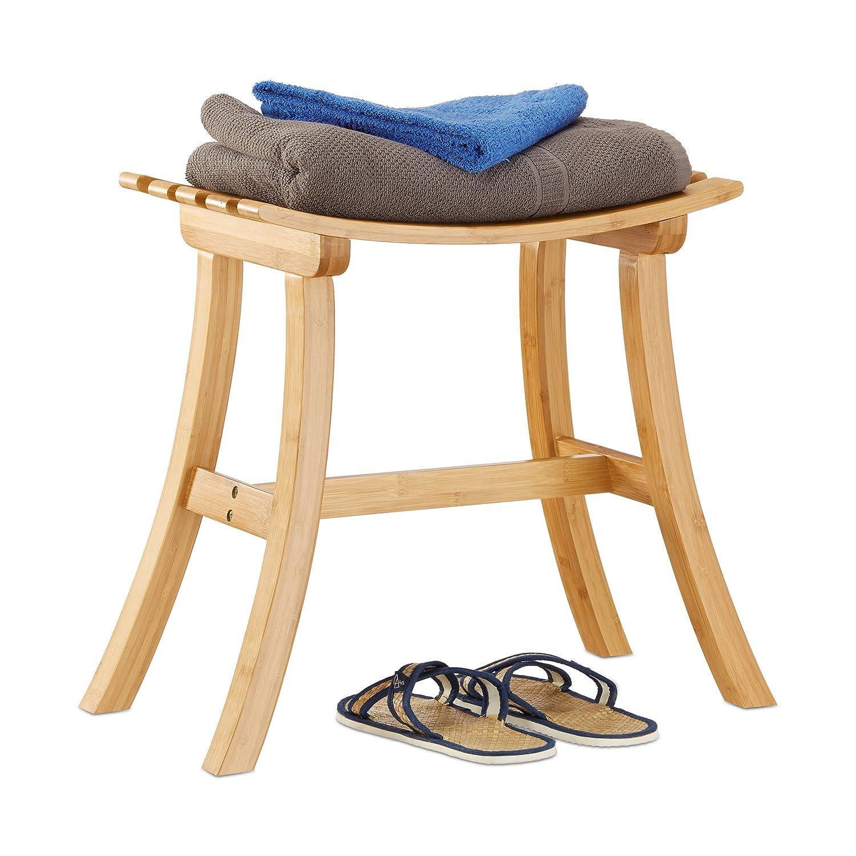 Relaxdays Hocker aus Bambus, elegant geschwungener Sitzhocker f. Garderobe, Holzhocker HxBxT  48 x 56 x 28,5 cm, natur