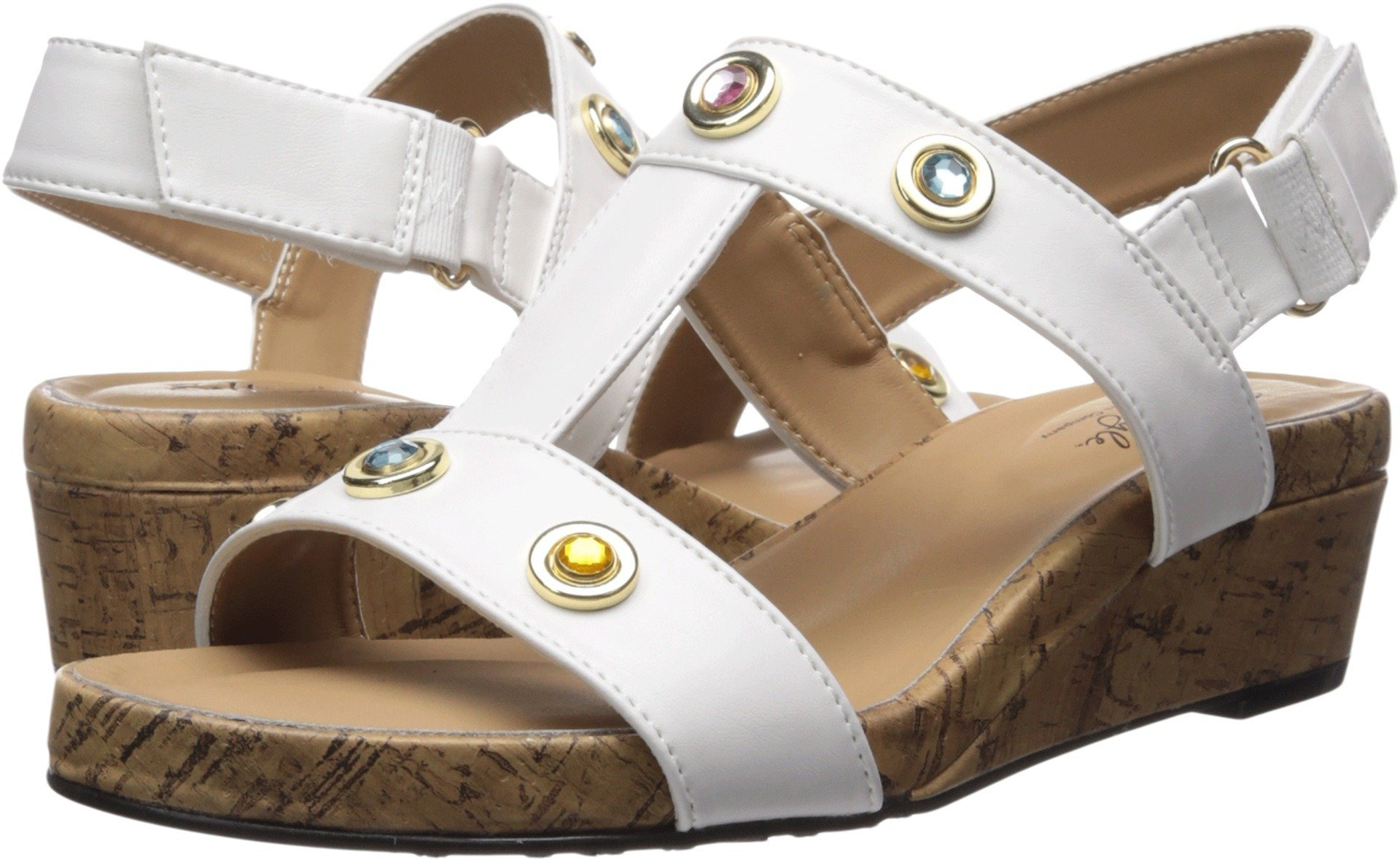 Soft Style by Hush Puppies Women's Oralee Wedge Sandal, White Vitello, 09.5 M US