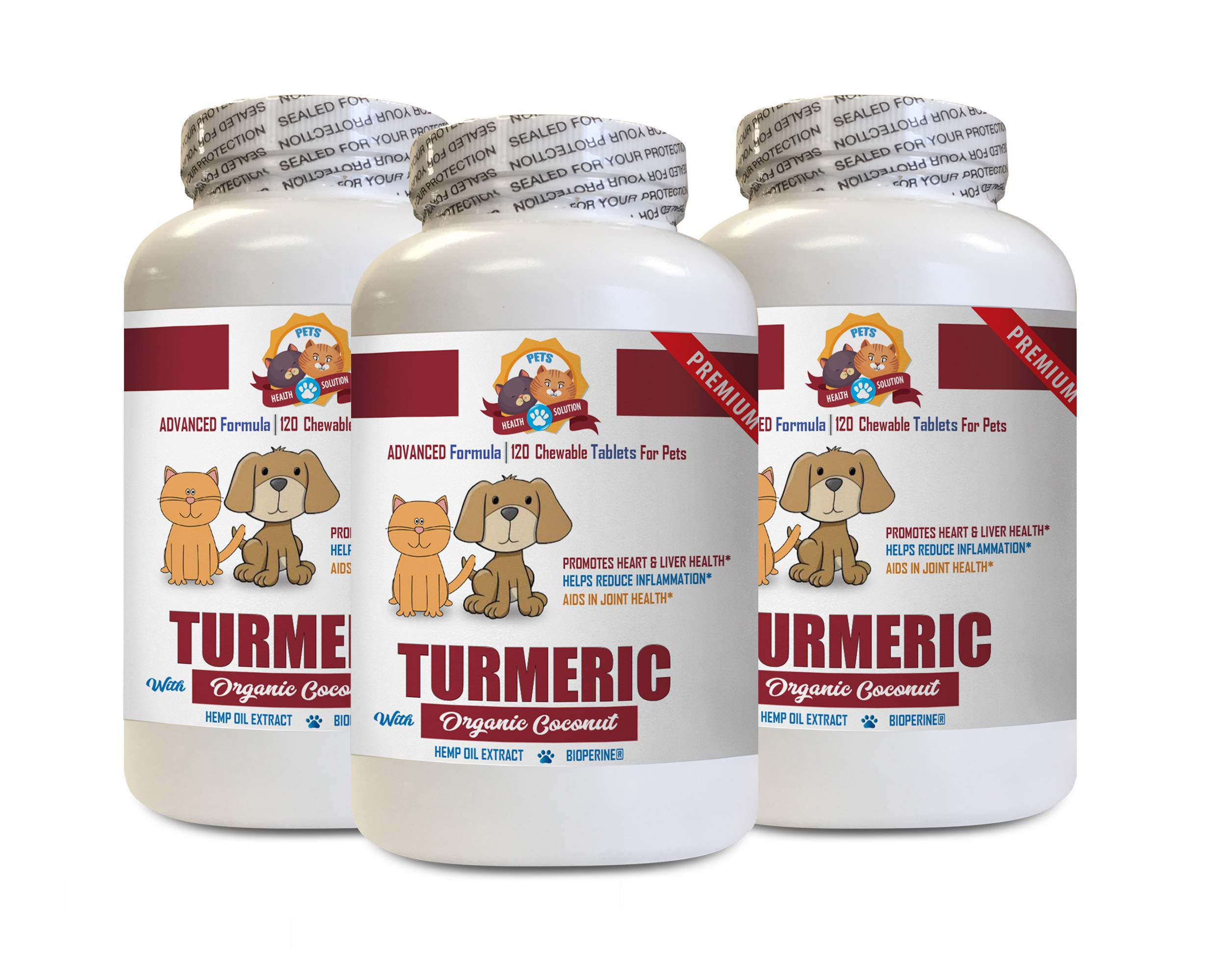 cat Skin Health - Pets Turmeric with Organic Coconut Oil - Dogs and Cats - Added Hemp Oil Extract - Powerful - Turmeric Supplements for Cats - 3 Bottles (360 Treats) by PETS HEALTH SOLUTION