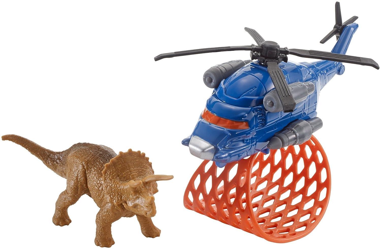 Matchbox Jurassic World Helicopter mit Fangnetz mit Triceratops Saurier Figur Mattel FMY44