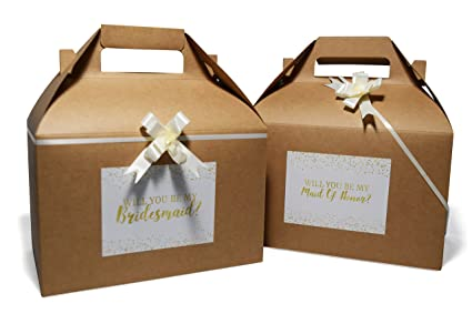 Qualityvibe Bridesmaid Gift Boxes Set Of 10 Kraft Gable Proposal Boxes With Ivory Bows Graphic Cards For Bridesmaid Maid Of Honor Flower Girls