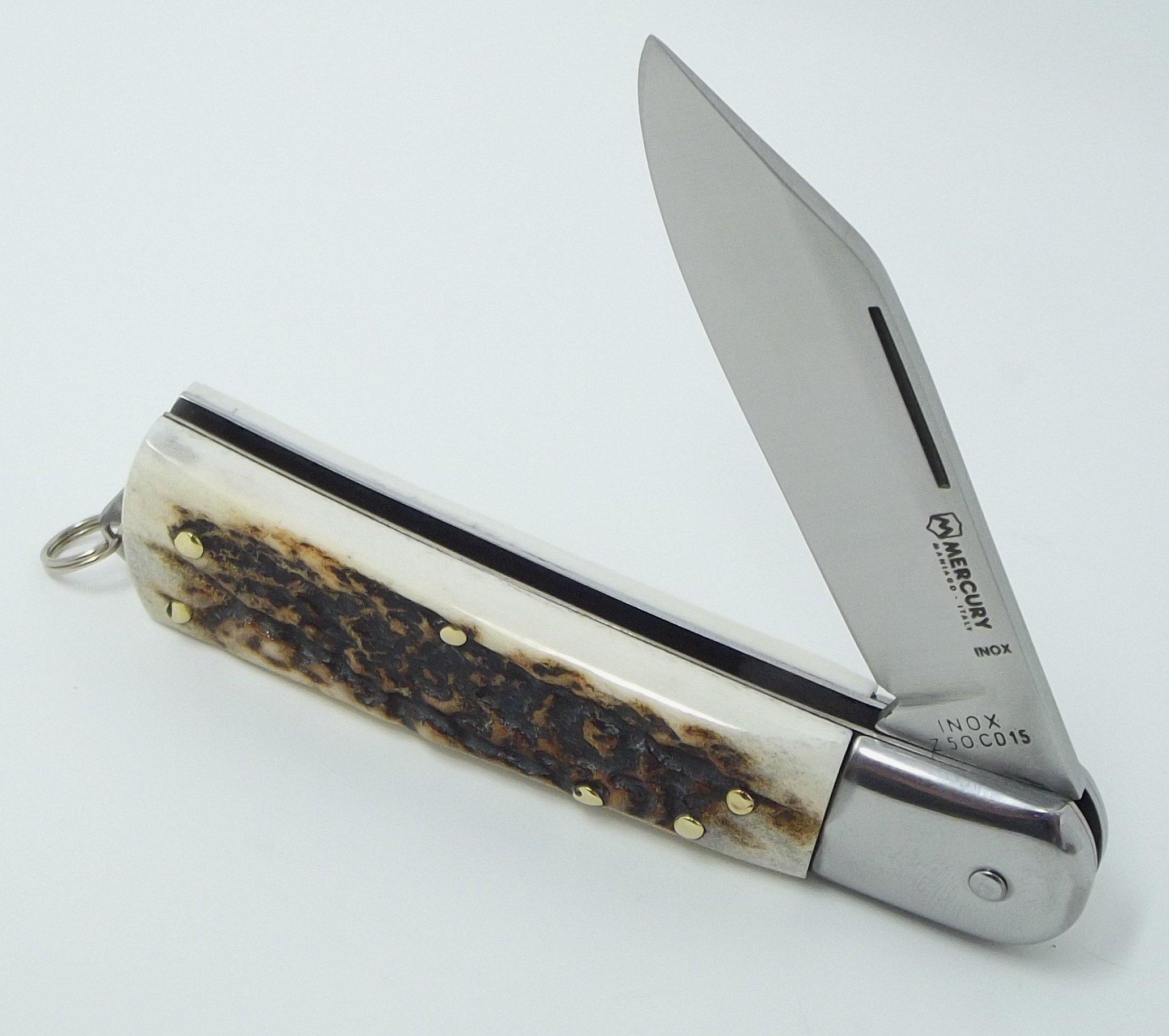 MERCURY Made in Italy Stag Handle Pocket Knife Clip Point Blade INOX Steel Lockback