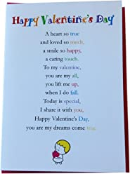 Happy Valentine's Day - Cute Happy Valentine's Day Luxury Greetings Cards by Clarabelle Cards 5 x 7 inches