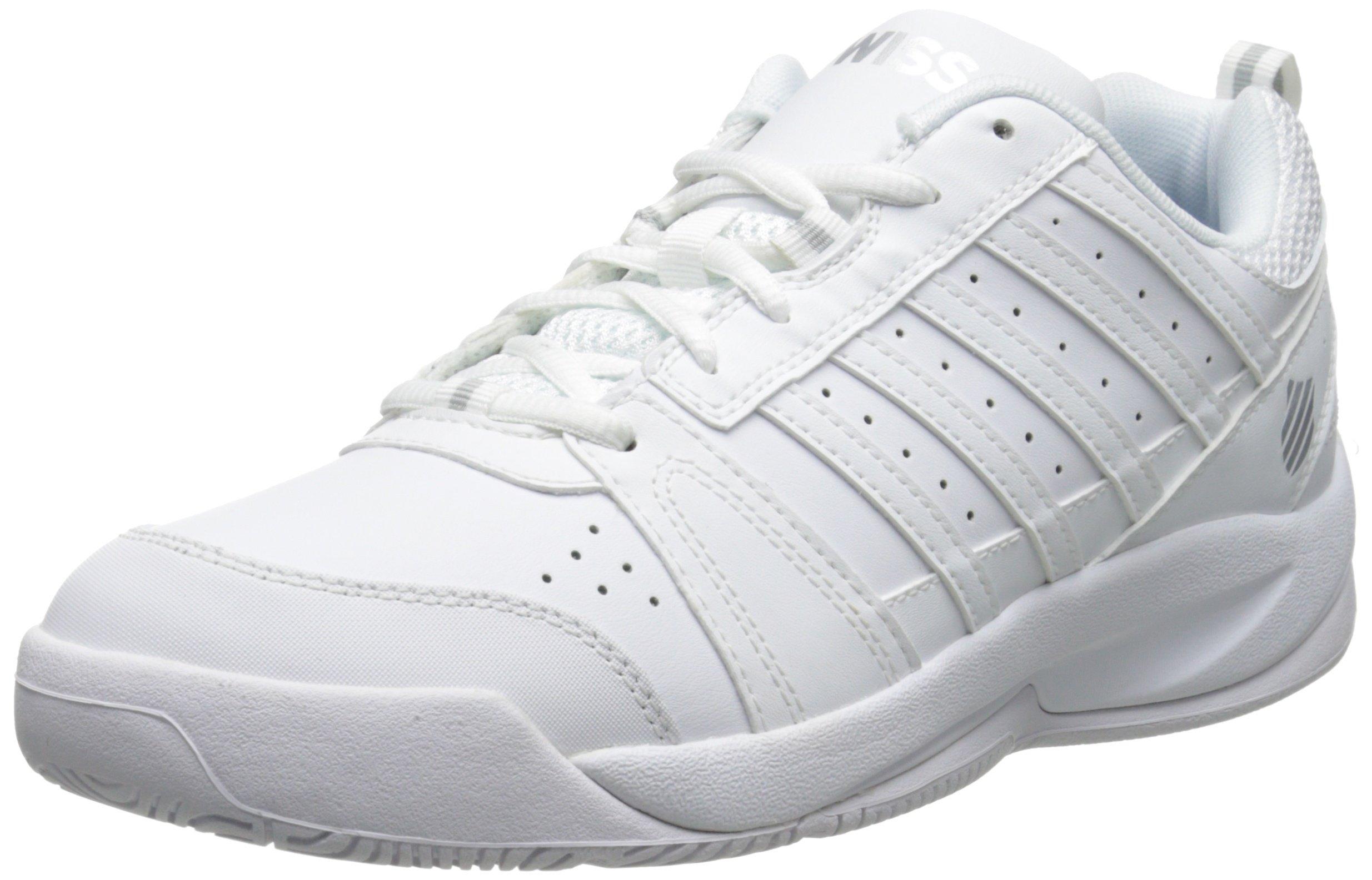 K-Swiss Women's Vendy Tennis Shoe, White/Silver, 7.5 M US by K-Swiss