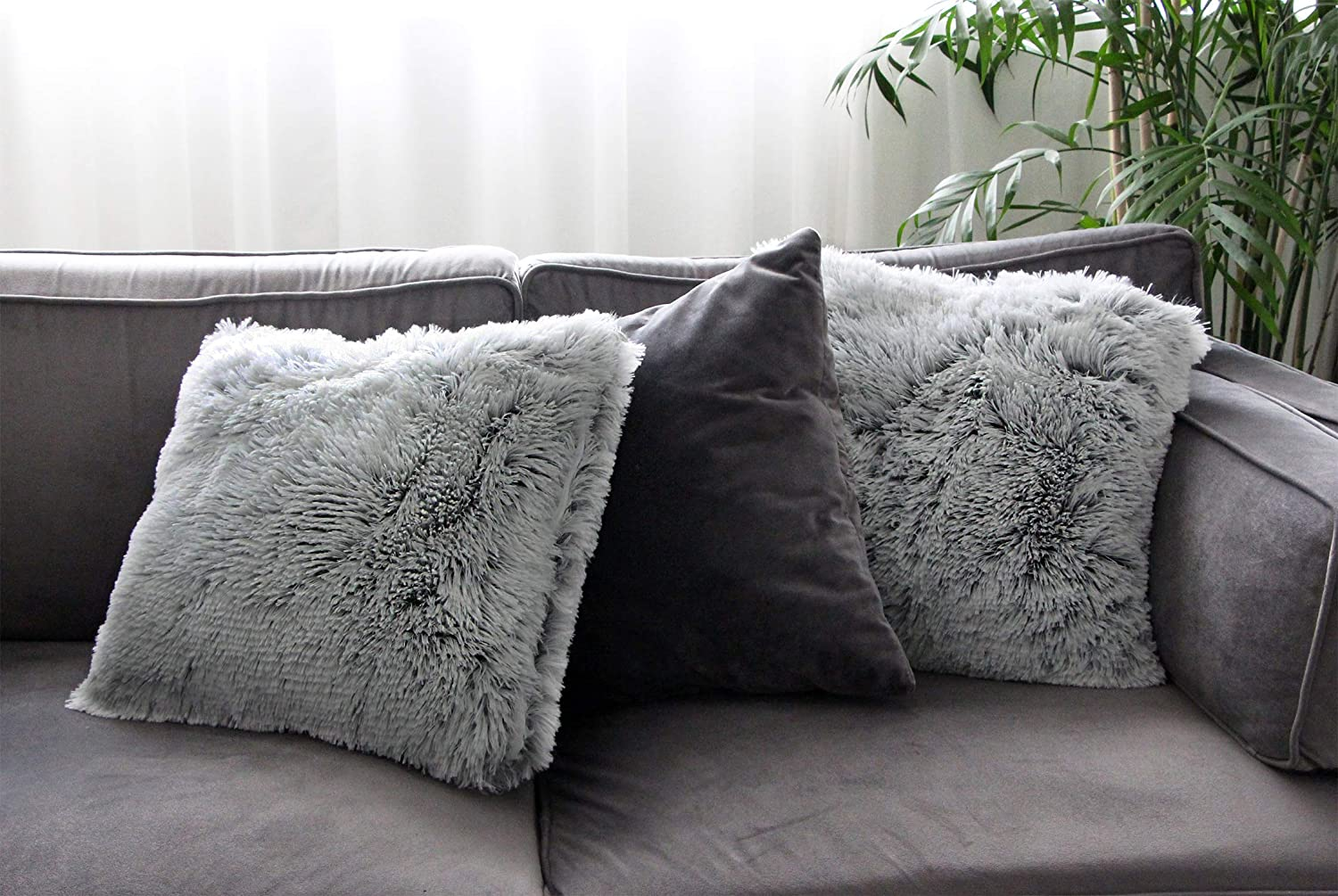 Uhomy Single Pack Home Decorative Super Soft Luxury Series Plush Faux Fur Throw Pillow Cover Cushion Case for Sofa//Bed White 30x50 cm 12 20
