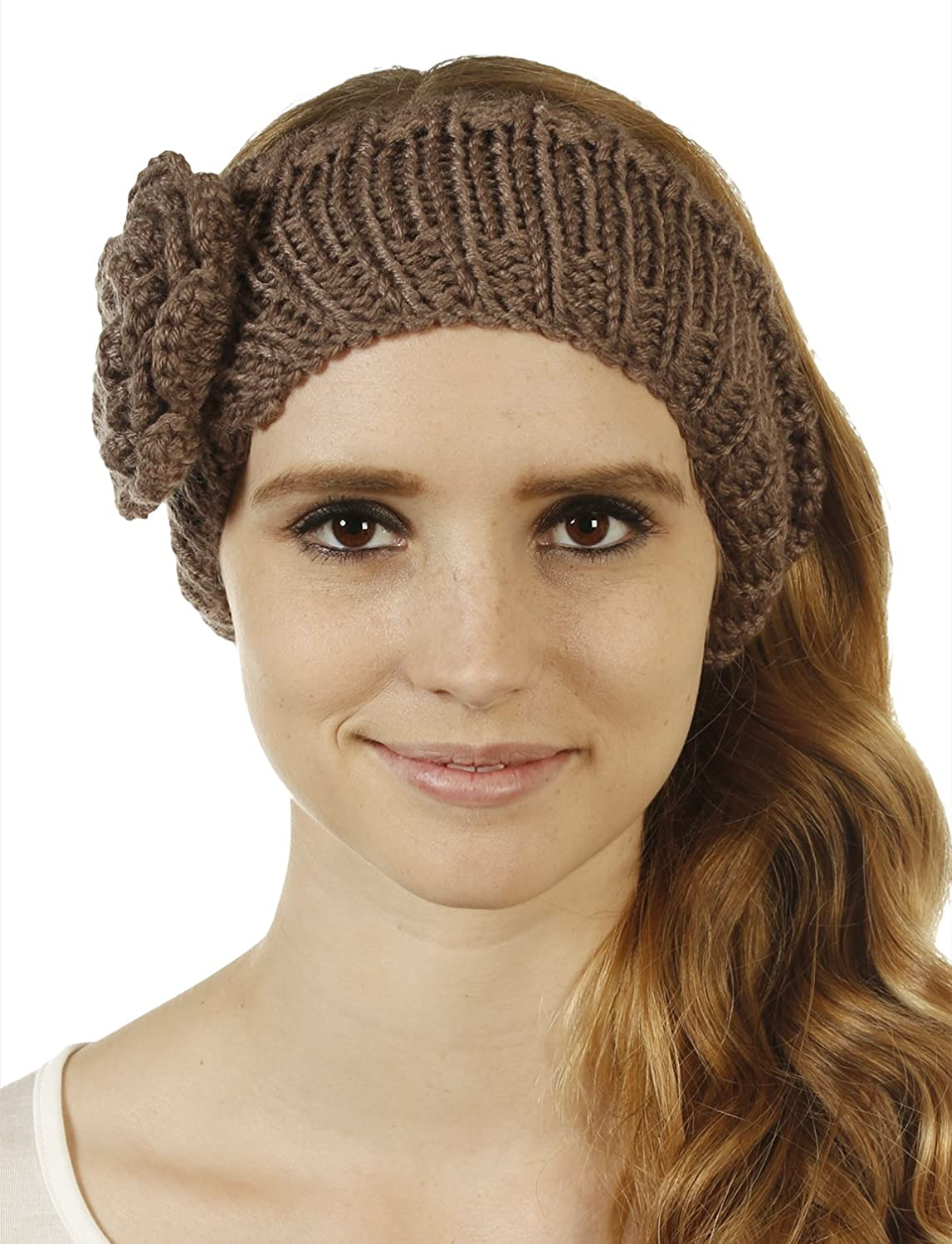 FHn Love Womens Cold Weather Headband with Rose Embellishment
