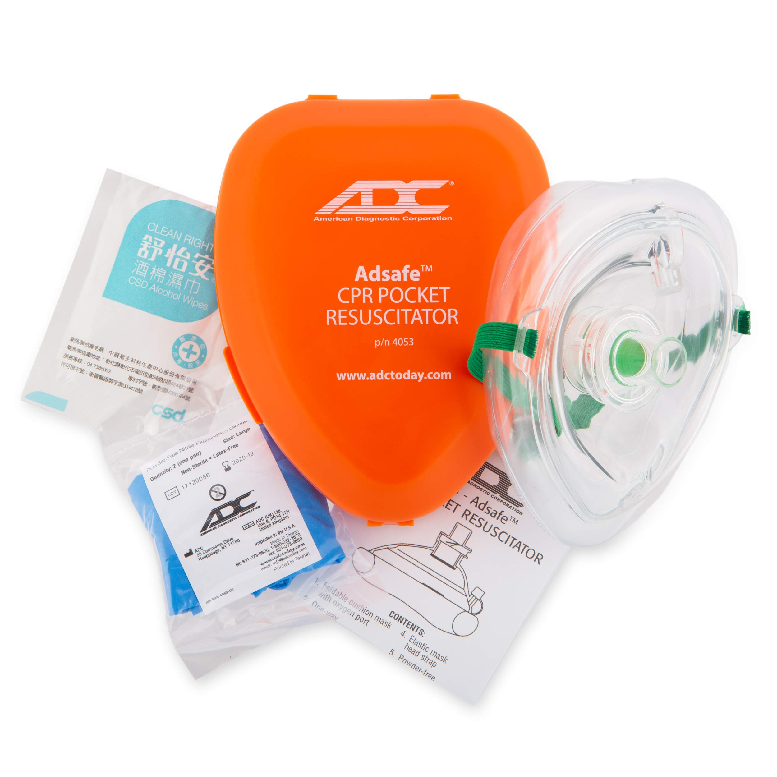 ADC Adsafe CPR Mask Pocket Resuscitator Kit; 3M Filtrete Filter with replaceable valve, disposable non-latex gloves, and alcohol wipe; 1 Kit