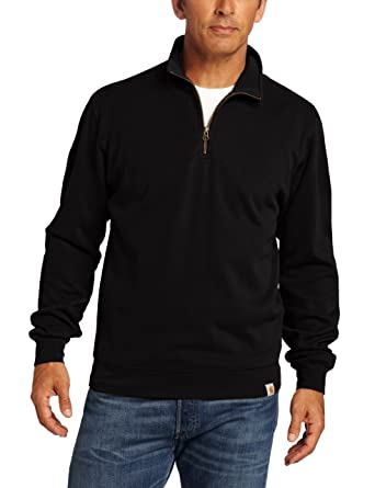 Amazon.com: Carhartt Men 's Knit quarter-zip relaxed-fit Pullover ...