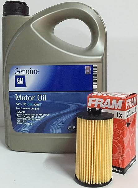 ACEITE MOTOR GM General Motor OPEL Oil 5w30 5 Litros + filtro aceite FRAM CH10246ECO para motores gasolina 1.2i 16v, 1.4 16v, 1.6 16v, 1.8i 16v, 1.6 ...