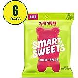 SmartSweets 低糖橡皮糖 小熊糖果,极酸 1.8盎司(50.94克)袋装(6件装),不含糖醇和人造甜味剂,甜叶菊增甜,天然水果口味