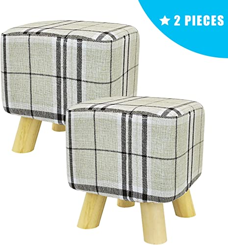 JERRY MAGGIE – 2 Pieces Footstool Fabric Ottomans Bench Seat Foot Rest Step Stool with Feet Protection Design Cubic – 4 Leg – Striped