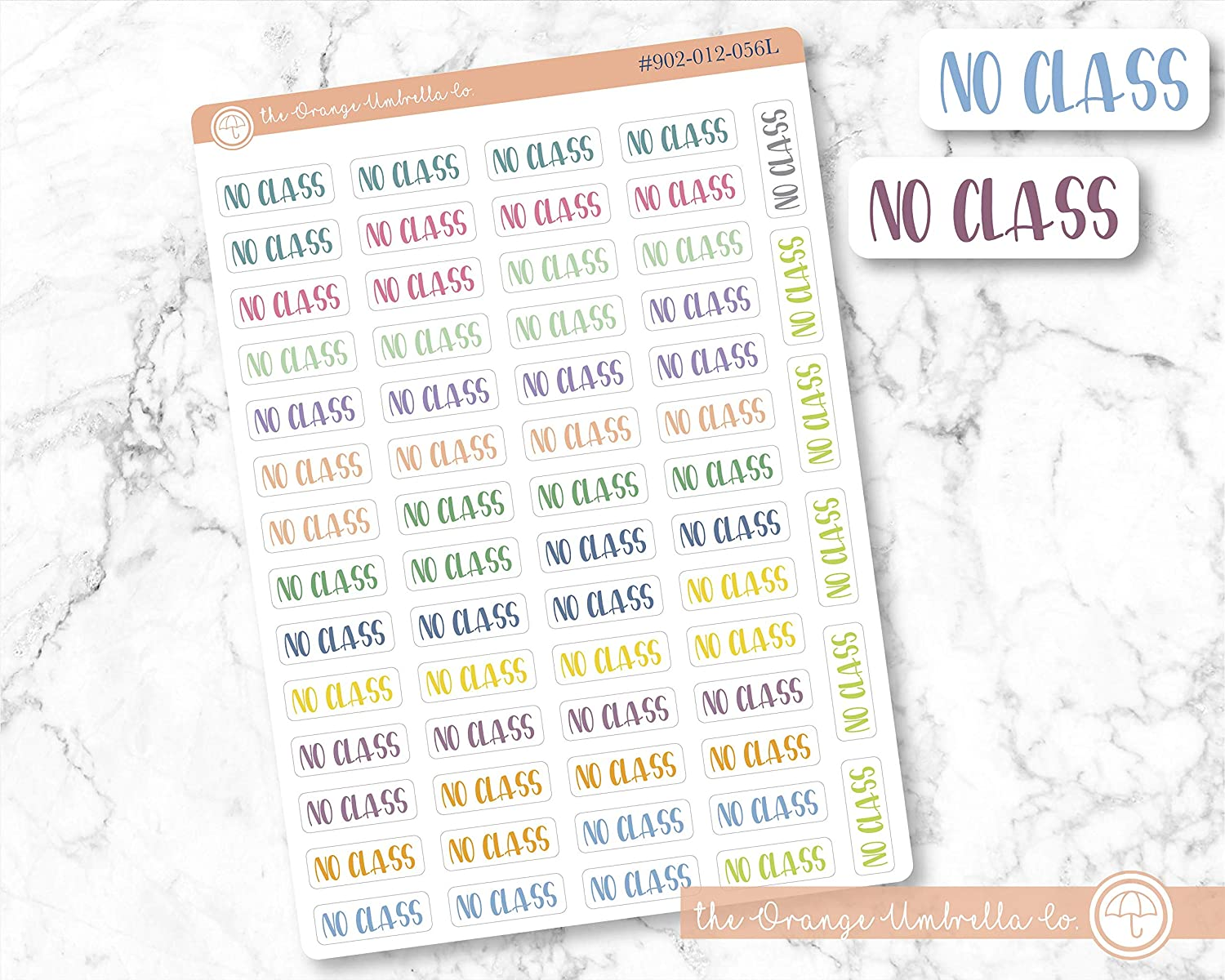 ECLP Colored Tracking Planner Stickers No Class Label Planner Stickers ScriptNo Class Labels #902-012-056L-WH