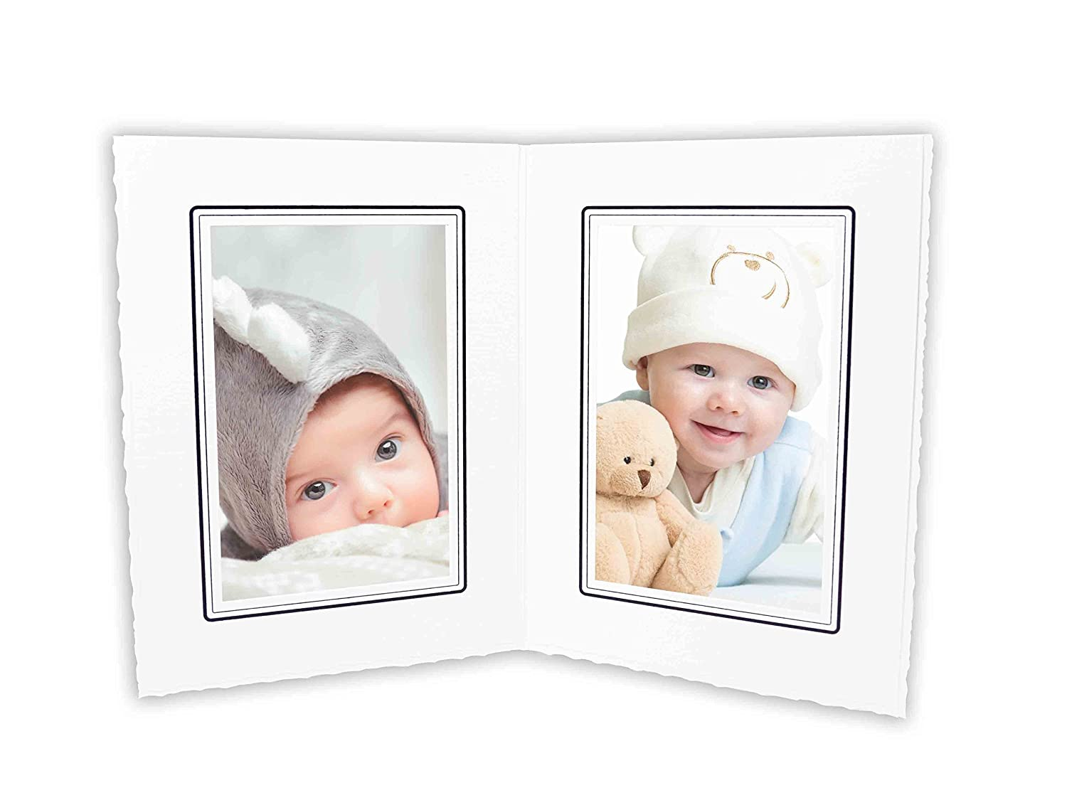 Golden State Art, Cardboard Photo Folder for Double 4x6 Photo (Pack of 50) GS004 White Color