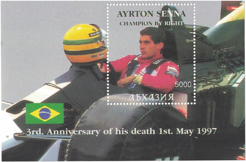 /Perforfated timbro foglio con formula 1//Racing//Cars//Ayrton Senna//anniversario//Brasile Francobolli/